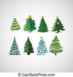 Set of vector trees on a light background