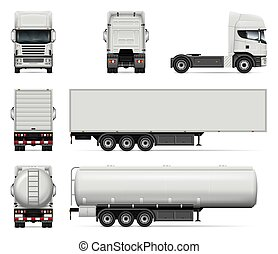 Set of vector trucks