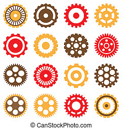 Set of Vector Various Gears - Set of Vector Mechanical...