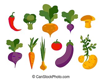 Set of vector vegetables, healthy food for vegans from the vegetable garden.