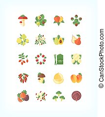 Set of vector vegetarian organic food. Flat fruit and vegetables icon set.