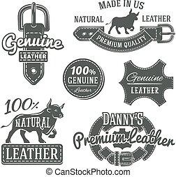 Set of vector vintage belt logo designs, retro quality labels. genuine leather illustration