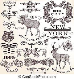 Set of vector vintage decorative - Vector set of ...