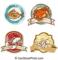 vintage labels with seafood - set of vector vintage labels ...
