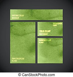 set of vector visual corporate identity green with paint...