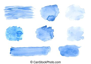 Set of Vector Watercolor Black Stains