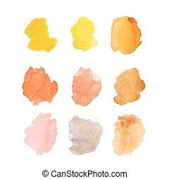 Set of vector watercolor brush strokes on white background