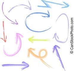 Set of VECTOR watercolor colored arrows