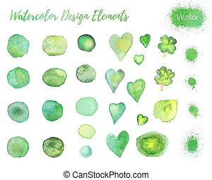 Set of vector watercolor design elements.
