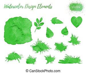 Set of vector watercolor design elements.