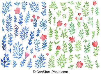 Set of vector watercolor florals
