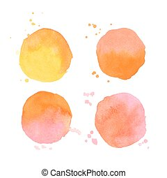 Set of vector watercolor splashes on white background
