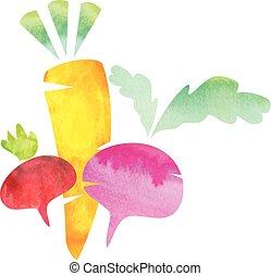 set of vector watercolor vegetables