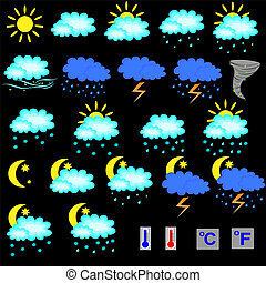 Set of vector weather forecast icon