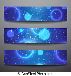 Set of vector web banners. Blue background. Technological...