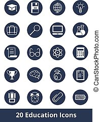 Set of vector web icons on education and training on a round flat background