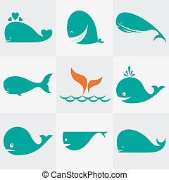 Set of vector whale icons on gray background
