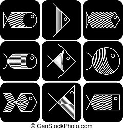 Set of vector white fish icons on black background