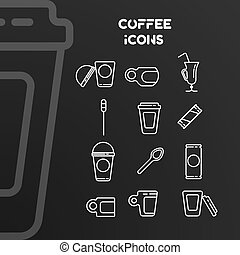 Set of vector white linear icons on the coffee theme.