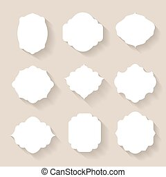 Set of vector white silhouette frames  or cartouches for badges
