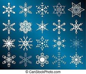 set of vector white snowflakes