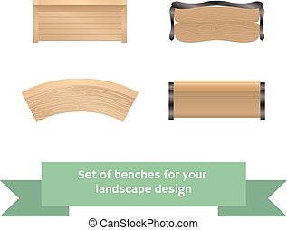 Set of vector wooden benches.