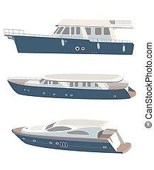 Set of vector yacht. Vector beautiful illustration.