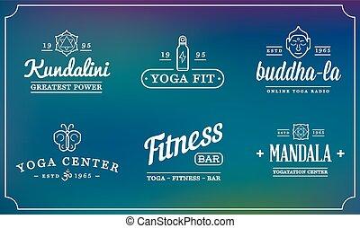 Set of Vector Yoga Zen Sport Elements and Fitness Healthy...