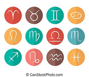 Set of vector Zodiac signs flat icons white background
