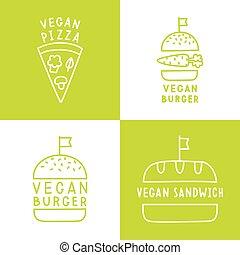 Set of vegan food icons. Burger, pizza, sandwich.