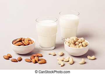 Set of vegan non diary milk and ingredients. Health care and diet concept