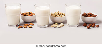 Set of vegan non diary milk. Health care and diet concept. Banner format