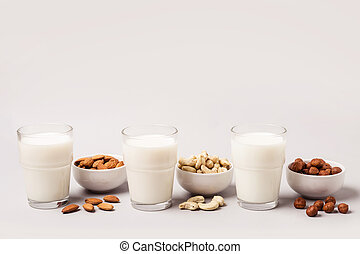 Set of vegan non diary milk. Health care and diet concept