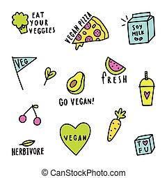 Set of vegan signs.