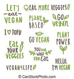 Set of vegan text labels.
