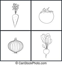 Icons Carrots, Tomatoes, Onions, Beet