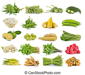 set of vegetable on white background