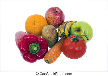 set of vegetables and fruit on white background