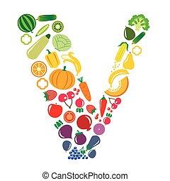 Set of vegetables and fruits illustration innscribed in the letter V