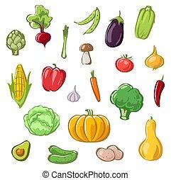 set of vegetables cartoon drawings vector vegan food illustration