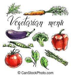 Set of vegetables, healthy food. Asparagus, broccoli, spinach, pea
