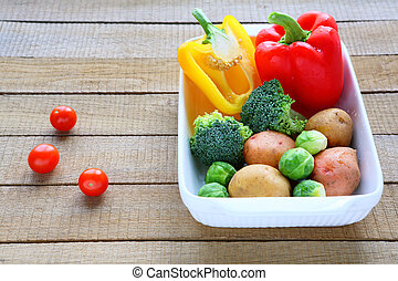 set of vegetables in a baking dish