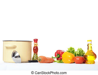 Set of vegetables isolated on white background