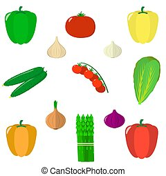 Set of vegetables isolated on white background. Vector.