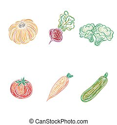 set of vegetables, sketch design