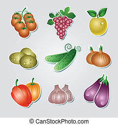 Set of vegetables stickers