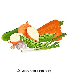 Set of vegetables zucchini, two carrots, whole and half fresh onion