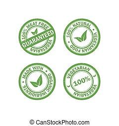 Set of vegetarian food rubber grunge stamps. Vegan sticker icons. Vector