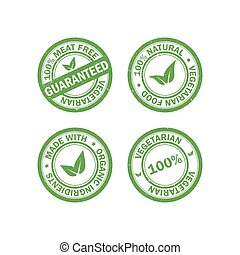 Set of vegetarian food rubber grunge stamps. Vegan sticker icons. Vector