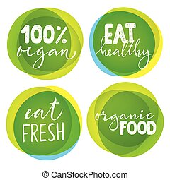 Set of vegetarian labels with hand drawn lettering.
